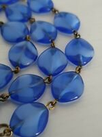 Art Deco Cobalt & Sky Blue Two Tone Glass Flat Bead Necklace Brass Links Hearts