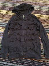 Children's Place 1989 Girls Black Ruffle Front Zip Up Hooded Jacket L 10/12