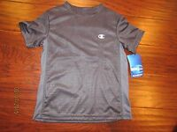 Youth Boys 5 6 Black Gray Grey CHAMPION Short Sleeve Athletic Summer Shirt
