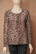 Jones New York 100% Cashmere Gray Cheetah Scoop Neck Sweater Medium M