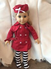 """Maroon Belted Suit Hat Socks Fits 18"""" American Girl,Our Generation No Doll"""