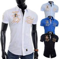 Redbrige Men's Designer Embroidered Shirt Short Sleeve Classic Collar Gold Trim