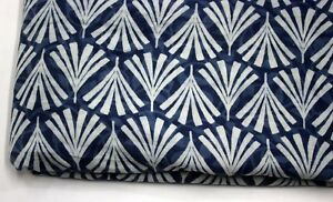 5 Yard Indian Blue Indigo Hand Block Print Cotton Fabric Dressmaking Sewing 1398