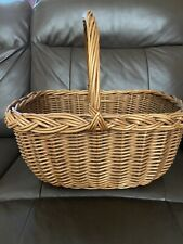 Vintage Wicker Basket. Shopping, Picnic With Crochet Cover