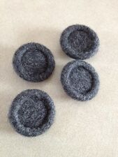 Lot of 4 Vintage Mid Century Gray Fuzzy Wool Cloth Covered Shank Buttons 2.5cm