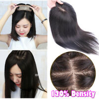 HOT Handmade Topper Hairpiece 100% Human Remy Hair Toupees Clip in Top Piece US