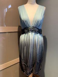 Single Dress Duck Egg Ombré Sleeveless Silk Dress Size L Embellished