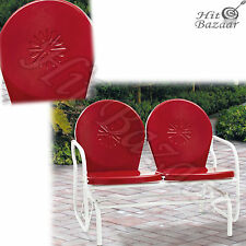 PATIO METAL GLIDER Bench Outdoor 2 Seater Retro Loveseat Porch Vintage Garden