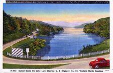 Sunset Scene On Lake Lure US Hwy 74 Western North Carolina Vintage LinenPostcard