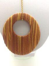 Anhänger Kette Oval Fimo/Cernit handmade unikat