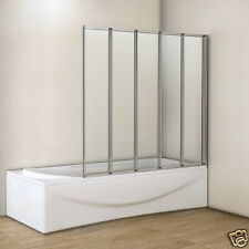 1200x1400mm Matt Silver 5 Fold Folding Shower Bath Screen Glass Door Panel 4mm