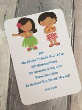 Personalised Hawaiian Theme Birthday Party Invitations Pk of 10 with envelopes