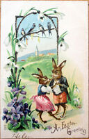 1903 Easter Postcard: Dressed/Anthropomorphic Rabbits - Embossed Color Litho