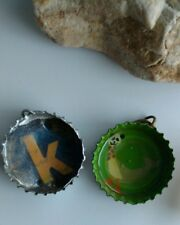 handcrafted upcycled green bottle cap pendant lot initial letter K