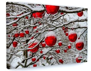 CHRISTMAS RED BAUBLES SNOW SCENE FESTIVE CANVAS PICTURE PRINT WALL ART FRAMEDC25