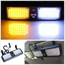 86 LED White/Amber Car SUV Sun Visor Mount Emergency Warning Strobe Flash Light