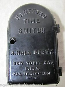 Antique 1909 HARTFORD TIME SWITCH New York City NY USA Cast Iron Casket Case