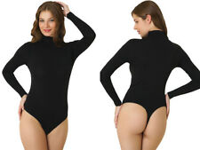 LADIES THONG TURTLENECK LONG SLEEVE COTTON  LEOTARD / BODYSUITS(REF: 2351)