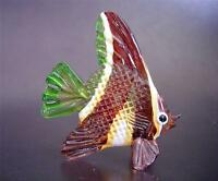 Glass FISH Beautifully Painted Glass Ornament Brown & White Stripy Glass Animal