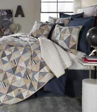 Cremieux Brenton Blue Tan Stripe Plaid Patchwork Twin Quilt Sham Pillow Set 3Pc