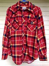 Vintage Pearl Snap Cotton Plaid Flannel Western Cowboy Shirt Mens L Rockabilly