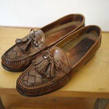 Johnston & Murphy Leather Tassle Fringe Moccasins Dress V-Cleat Shoes 10M 44