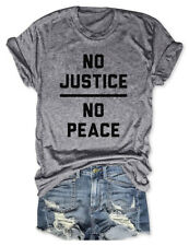 No Justice No Peace T-Shirts Funny Party Gift Shirt Unisex Letter Print Tee Tops