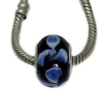 Blue And White Glass Spacer Charm Bead For European Bracelets