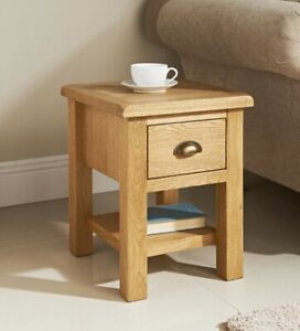 Solid Wiltshire Oak side table with Drawer coffee Tea letter phone lamp table