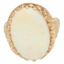 9Carat Yellow Gold Natural Opal Solitaire Ring (Size O) 12x17mm Head