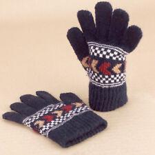 Gloves Navy Blue Classic Wool Knitted Fingers Geometric Pattern Kids Unisex Sml