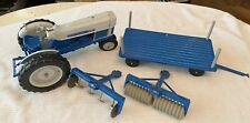 Vintage Hubley Metal Ford Commander 6000 Tractor, Trailer, Two Plow Attachments