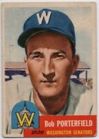 1953 Topps #108 Bob Porterfield VG- Washington Senators Small Crease
