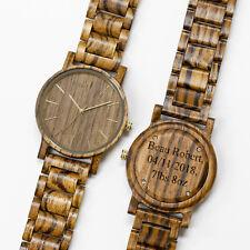 Mens Custom Wood Watch Engraved Personalized Wooden Birthday Groomsmen Gift