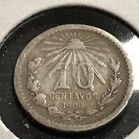 1906 MEXICO SILVER 10 CENTAVOS HIGHER GRADE