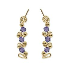 Ear Sweeps Pins Climbers Vines Earring Gold w/ Swarovski Tanzanite Crystal 248