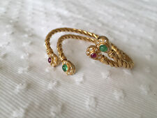 Yellow Gold 18K Open Work Diamond Ruby and Emerald Cabochon Bracelets