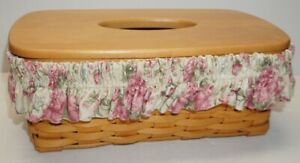 LONGABERGER LONG TISSUE BASKET WITH FLORAL FABRIC GARTER AND PLASTIC LINER 2002