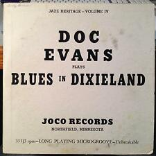"DOC EVANS blues in dixieland 10"" VG VLP 3302 Joco Records Private Jazz Red Vinyl"