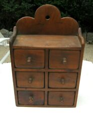 Old Hanging / Countertop 6 Drawer WOODEN WOOD SPICE APOTHECARY CABINET KITCHEN