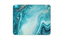 Blue Gold Marble Effect Mouse Mat Pad - Paint Art Artist Gift Computer #13254