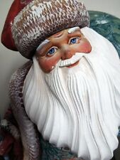 CHristmas LARGE WOOD Russian Father Frost Santa Claus Hand Carved Hand Painted