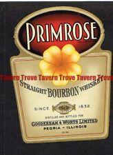 Unused 1940s ILLINOIS Peoria Gooderham & Worts PRIMROSE BOURBON WHISKEY Label