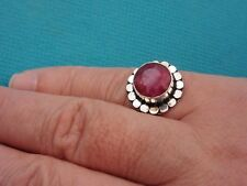 925 Sterling Silver Ring With Round Faceted Ruby UK M, US 6.25 (rg2773)