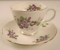 "Vintage Duchess , England Bone China Floral Teacup & Saucer Set ""Violetta"""