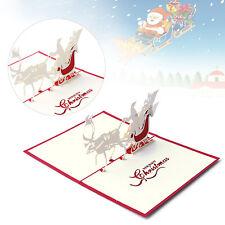 3D Pop Up Santa's Sleigh Carte de voeux joyeux Noël mariage carte postale cadeau
