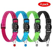 Didog Christmas Reflective Breakaway Safety Buckle Cat Collars,Set of 4 Pcs with