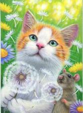 ACEO ORANGE WHITE TABBY CAT MOUSE BLOWING DANDELION FLOWERS WISHING ART PAINTING