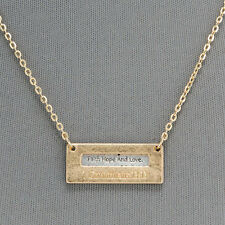 Simple Gold Chain Religious Bible Verse 1 Corinthians 13:13 Pendant Necklace