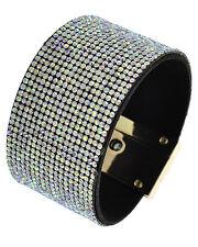 Multi color Aurora Borealis Rhinestone Fashion Bracelet Gold Tone Turn Locking